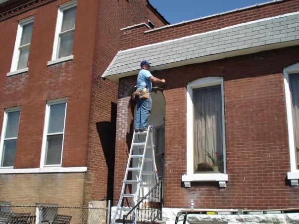 Gutter work being done
