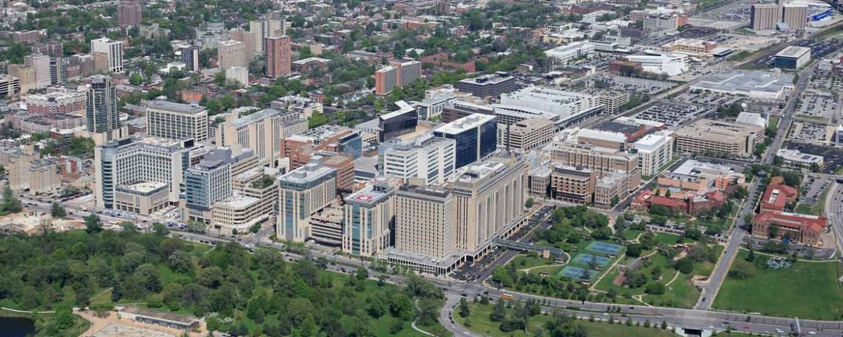 Drone footage of BJC HealthCare and Washington University Medical Center campus.