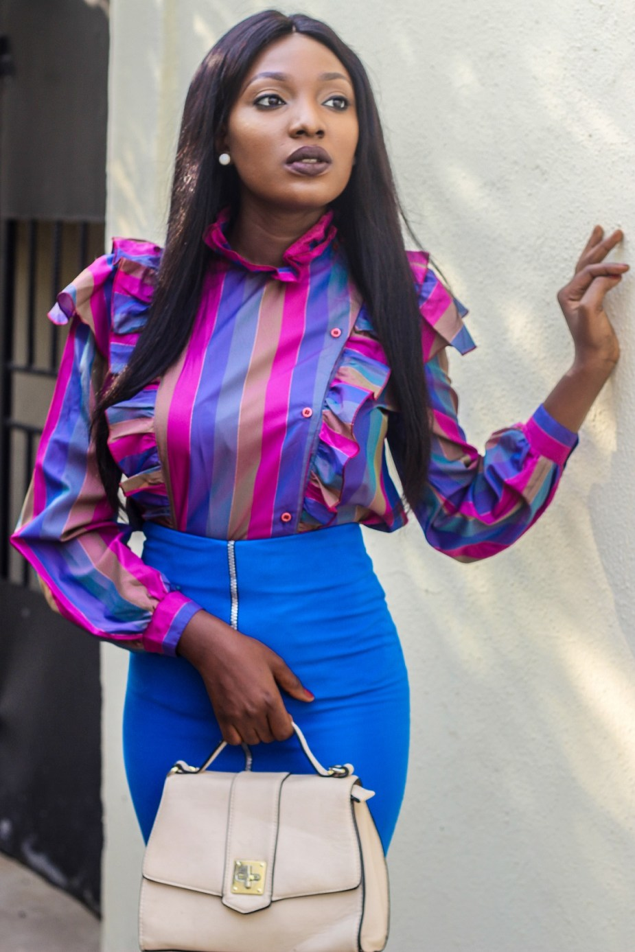 Nigerian Fashion Blogger Wumi Tuase in Frill Top & Pencil Skirt How To Wear Colors To Work