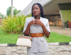 mini skirt suit trend fashion blogger wumi tuase velvet corset belt