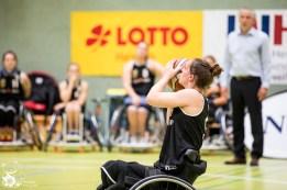 Die deutschen Damen entscheiden das Spiel gegen die Damen aus Großbritannien mit 47:55 (HZ 19:28) für sich. Frankfurt, Skywheelers Dome.