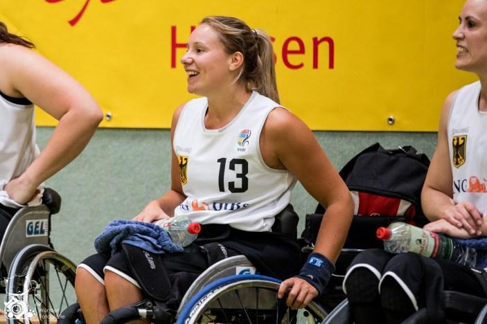 Die deutschen Damen gewinnen das letzte Spiel des World Super Cup 2018 mit 60:48 gegen die Damen aus Großbritannien. Frankfurt, Skywheelers Dome
