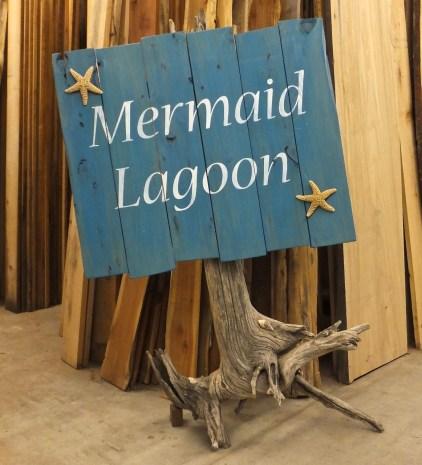 Mermaid Lagoon driftwood sign WunderWoods