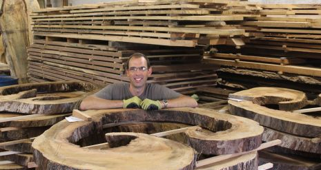 Scott Wunder WunderWoods with hollow sycamore crosscut slices