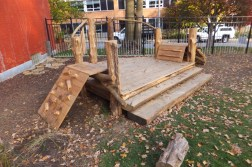 WunderWoods natural cedar white oak playground climbing rock wall