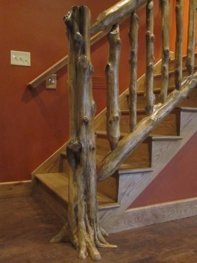 WunderWoods natural tree design cedar log staircase balluster handrail newel post