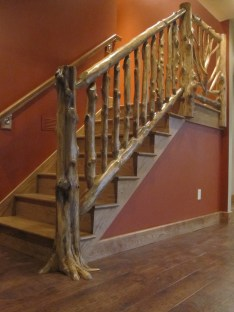 WunderWoods natural tree design cedar staircase balluster handrail front