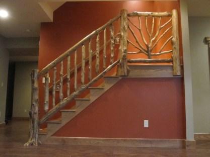 WunderWoods natural tree design cedar staircase balluster handrail