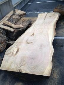 WunderWoods red oak natural live edge slab table top Goebel