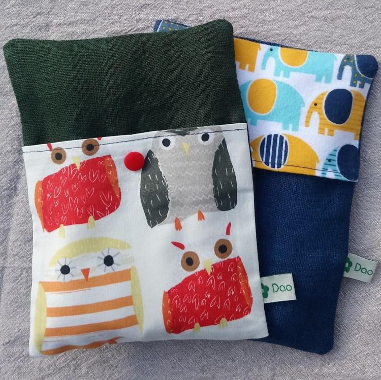 Les bouillottes aux graines de lin pour bébé Dao couture : les éléphants et les hiboux