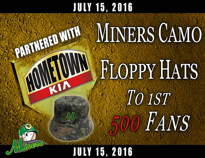 07/15: Miners camo floppy hats to 1st 500 fans (Hometown Kia)