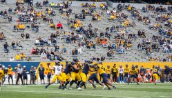 April 24, 2021; Morgantown, West Virginia, USA; West Virginia Mountaineers quarterback Garrett Greene throws a pass during the Spring Game at Mountaineer Field at Milan Puskar Stadium. Mandatory Credit: Ben Queen