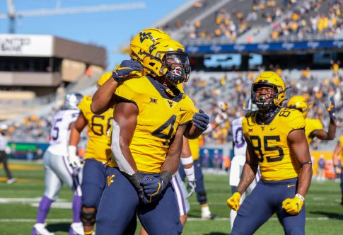 Oct 31, 2020; Morgantown, West Virginia, USA; West Virginia Mountaineers running back Leddie Brown (4) celebrates after running for a touchdown during the second quarter against the Kansas State Wildcats at Mountaineer Field at Milan Puskar Stadium. Mandatory Credit: Ben Queen-USA TODAY Sports