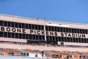 Image Taken at the Oklahoma State Cowboys vs West Virginia Mountaineers Football Game, Saturday, September 26, 2020, Boone Pickens Stadium, Stillwater, OK. Bruce Waterfield/OSU Athletics