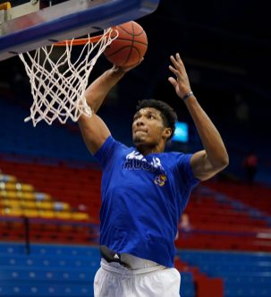 Dec 22, 2020; Lawrence, Kansas, USA; Kansas Jayhawks forward David McCormack (33) warms up before the game against the West Virginia Mountaineers at Allen Fieldhouse. Mandatory Credit: Denny Medley-USA TODAY Sports