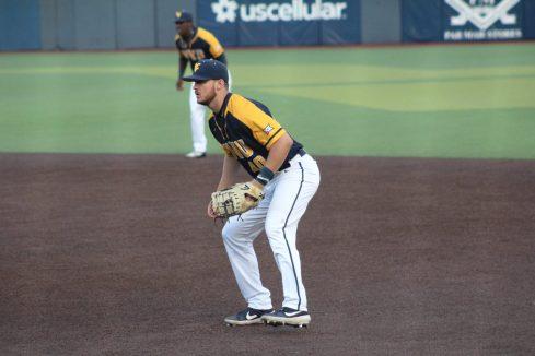 WVU first baseman Hudson Byorick against Pitt at Mon County Ballpark on May 5, 2021. Cody Nespor/WVSportsNow