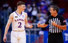 Kansas guard Christian Braun (2) disputes a call with an official during the second half, Tuesday, Dec. 22, 2020 at Allen Fieldhouse.
