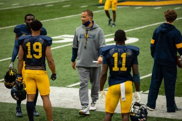 Safeties coach Dontae Wright during a practice in Milan Puskar Stadium on Saturday April 17, 2021. Duncan Slade/WVSN