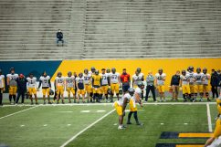 Offensive players during a practice in Milan Puskar Stadium on Saturday April 17, 2021. Duncan Slade/WVSN