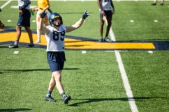 Graeson Malashevich celebrates during a WVU Football practice on March 27, 2021 in Milan Puskar Stadium. (Duncan Slade/WVSportsNow)