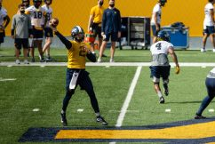 during a WVU Football practice on March 27, 2021 in Milan Puskar Stadium. (Duncan Slade/WVSportsNow)
