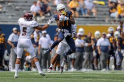 MORGANTOWN, WV - SEPTEMBER 12: West Virginia Mountaineers wide receiver Sam Brown (17) makes a catch during the first quarter of the college football game between the Eastern Kentucky Colonels and the West Virginia Mountaineers on September 12, 2020, at Mountaineer Field at Milan Puskar Stadium in Morgantown, WV. (Photo by Frank Jansky/Icon Sportswire)