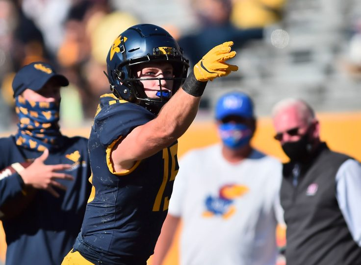 West Virginia Mountaineers wide receiver Reese Smith (15) after making a first down against Kansas Jayhawks Saturday, Oct. 16, 2020, in Morgantown.