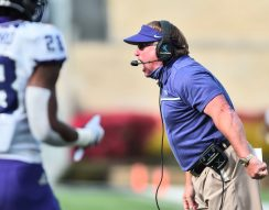 TCU Horned Frogs head coach Gary Patterson calls out to his players on Saturday, Nov. 14, 2020, in Morgantown, W.Va.
