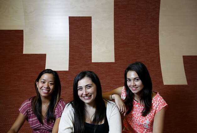 Bettina Chen (left), Jennifer Kessler and Alice Brooks founded Stanford startup Maykah, which develops toys that encourage young girls to take an interest in science, technology, engineering and math. Photo: Sarah Rice, Special To The Chronicle / SF