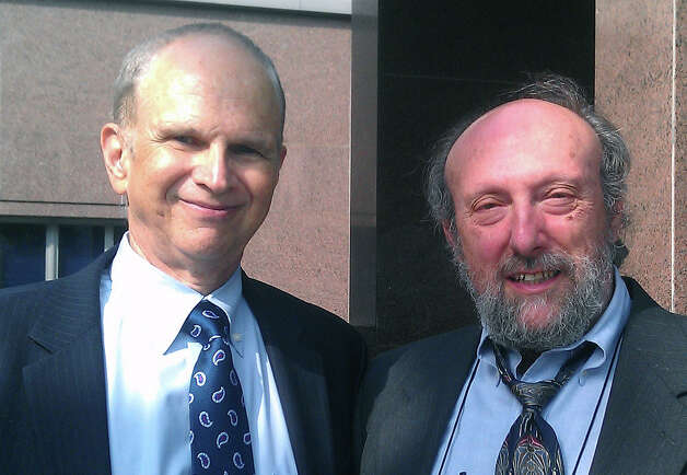Lawyer Michael Koskoff, left, and Dr. Sidney Schnoll, both Westport residents, outside a Los Angeles courthouse last week where they are key players in the trial over a lawsuit filed by the mother of the late pop star Michael Jackson against the promoter of his last planned tour. Photo: Contributed Photo / Westport News contributed