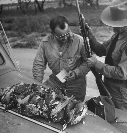 The game warden inspecting the hunter's gun, 1946.