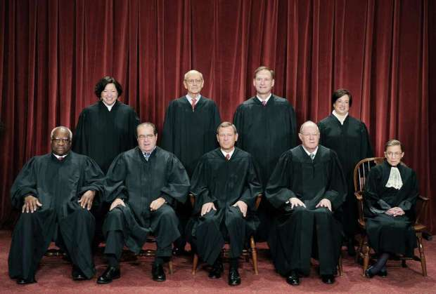 The Justices of the US Supreme Court sit for their official photograph in this file photo. Photo: TIM SLOAN /AFP /Getty Images / AFP ImageForum