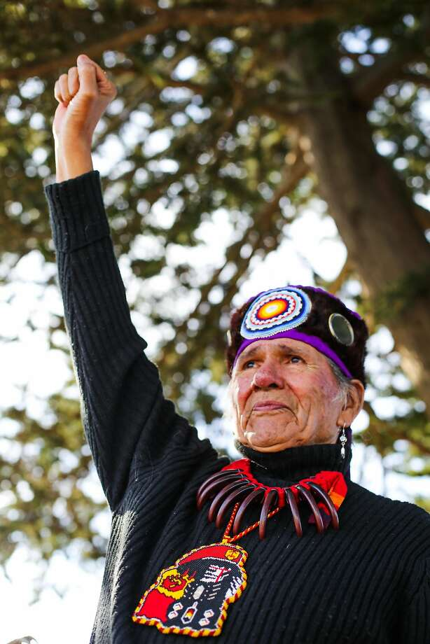 Dennis Banks, co-founder of the American Indian Movement, joined a rally at Crissy Field on Feb. 12. Photo: Gabrielle Lurie, The Chronicle