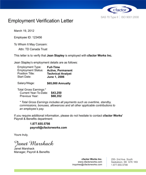 Doc662728 Sample of Proof of Employment 40 Proof of – Sample of Proof of Employment