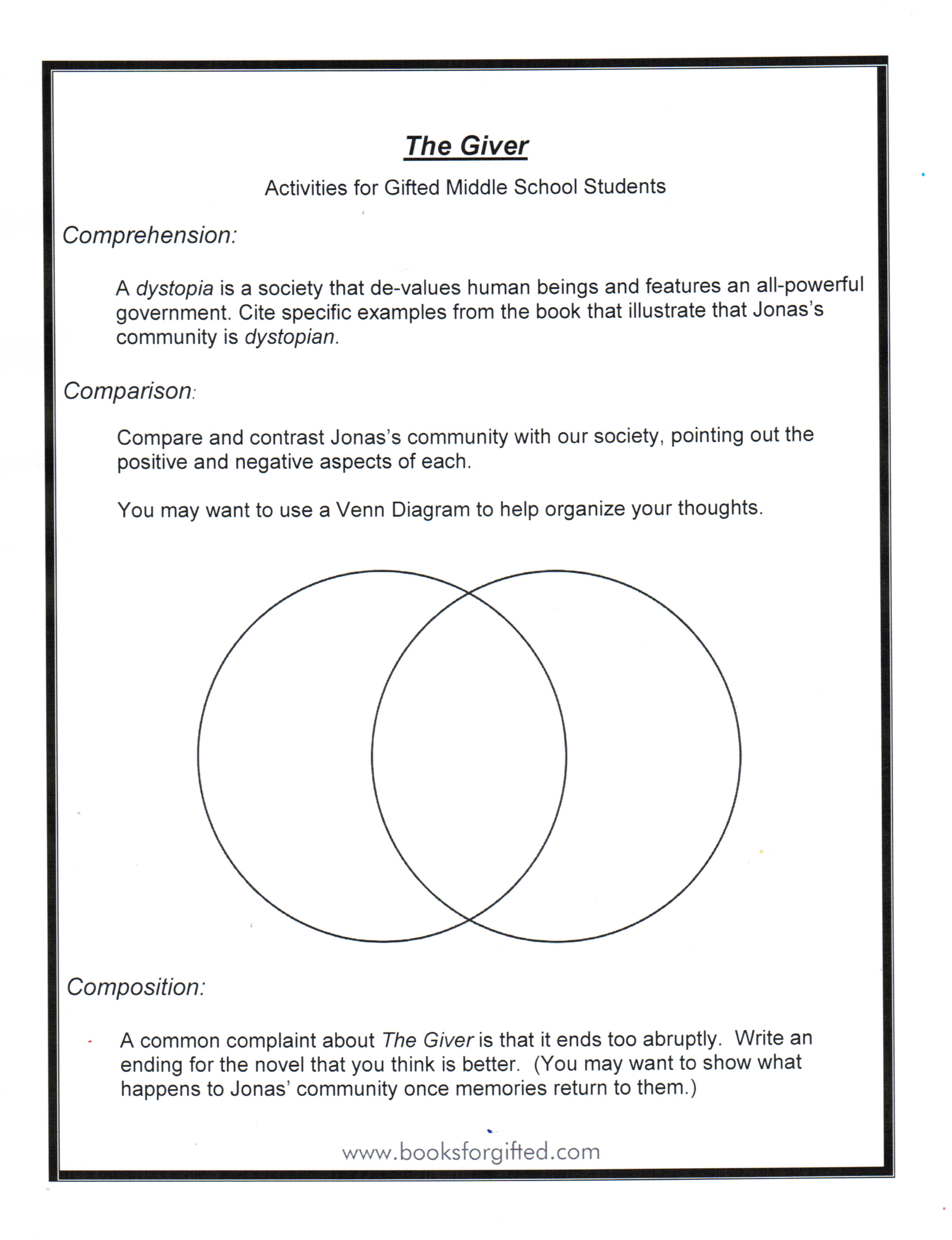 Free Worksheets For The Giver