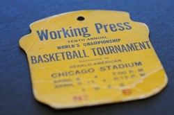 Press badge for the Tenth Annual World's Championship Basketball Tournament, held April 1948 at Chicago Stadium.