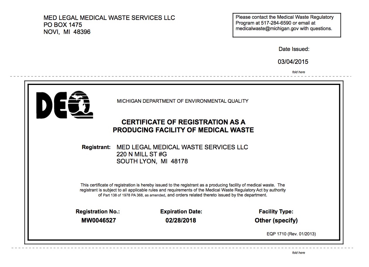 Med Legal Medical Waste Services Passes Oakland County And Michigan Deq Onsite Audit