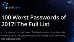 Screen image from SplashData's 2017 Worst Passwords of the Year