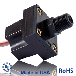 Image: DesignFlex PSF111 Series Compact, Lightweight, Environmentally Sealed Housing Pressure/Vacuum Switch from DesignFlex Switches by World Magnetics. UL, RoHS, Made in USA.