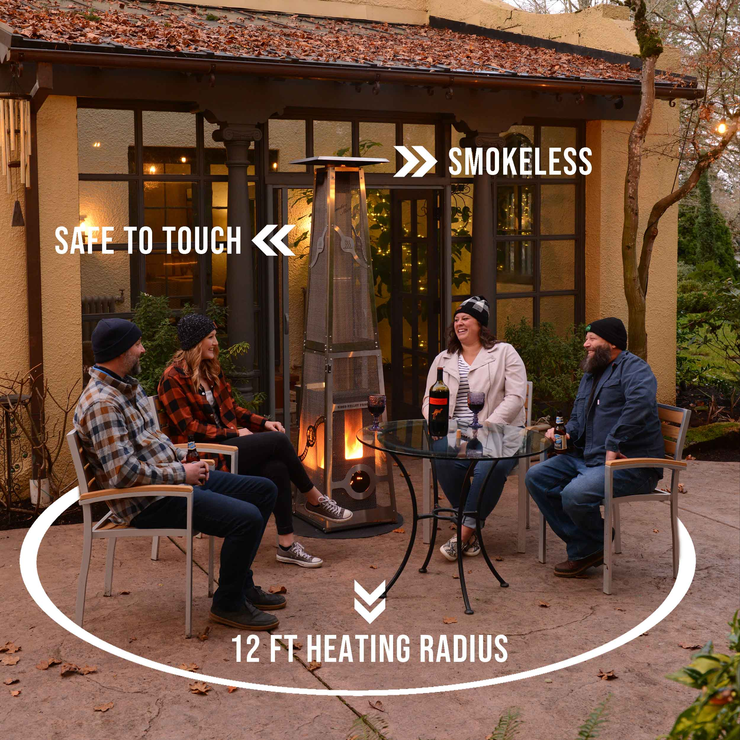 wood pellet products manufacturer donates patio heaters to restaurants and coffee shops it s a heart warming story for customers and restaurant owners throughout the us
