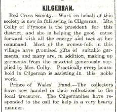 1914 WW1 week 10.2 Kilgerran Red Cross