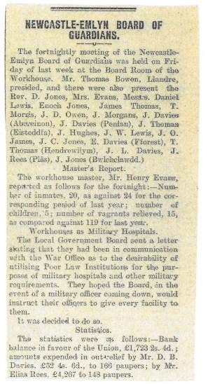 1914 WW1 week 15 Newcastle Emlyn
