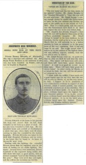 1914 WW1 week 18 Aberporth man and Duration