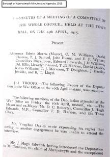 Borough of Aberystwyth Minutes and Agendas 1915