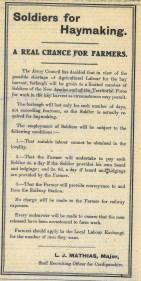 1915 WW1 week 48 CTA 1-07-1915 Soldiers for Haymaking