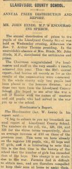 1915 week 73 CTA 24-12-15 Llandysul County School