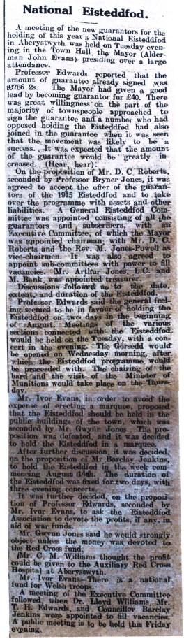 1916 week 79 CTA 4-2-16 National Eisteddfod