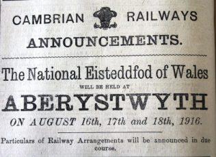 1916 week 87 CN 31-3-16 Cambrian Railways' Eisteddfod arrangements
