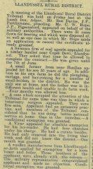 1916 week 88 CTA 7-4-16 Llandysul Rural District Tribunal