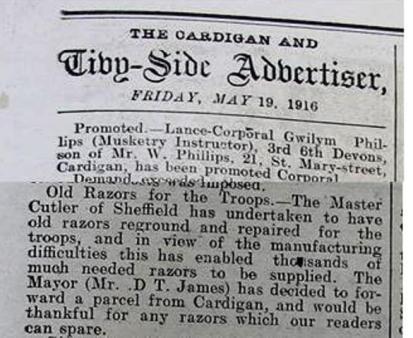 1916 week 94 CTA 19-5-16 Cardigan